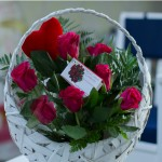 Basket with red roses heart