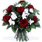 Trandafiri rosii si frezii