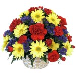 basket with beautiful flowers