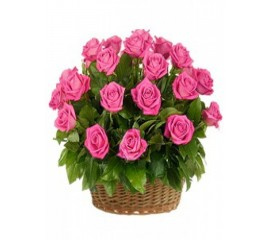 Cos cu 35 trandafiri roz